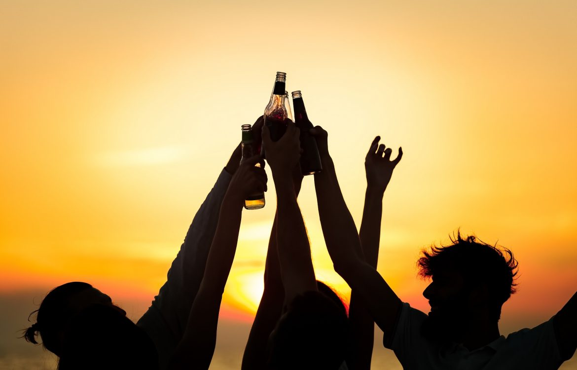 Friends Beach Party Drinks Toast Celebration Concept.